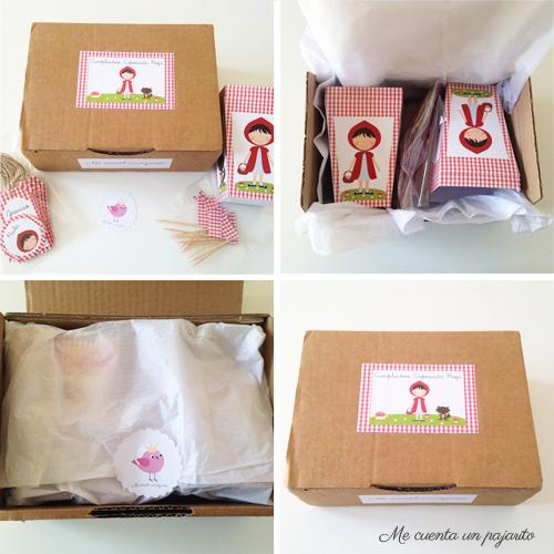 kit cumpleaños de Caperucita Roja en la caja de envío
