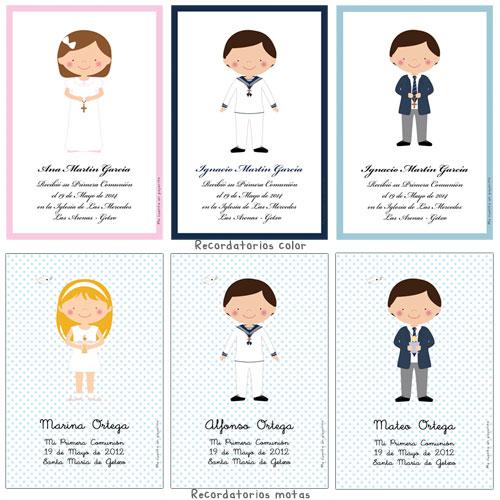Recordatorio de Primera Comunión personalizado niña, niño, cruz, cirio, copa manos, colores