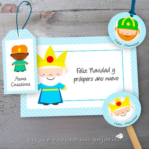 Felicitación, etiquetas nombre, etiquetas colgar, toppers de los Reyes Magos