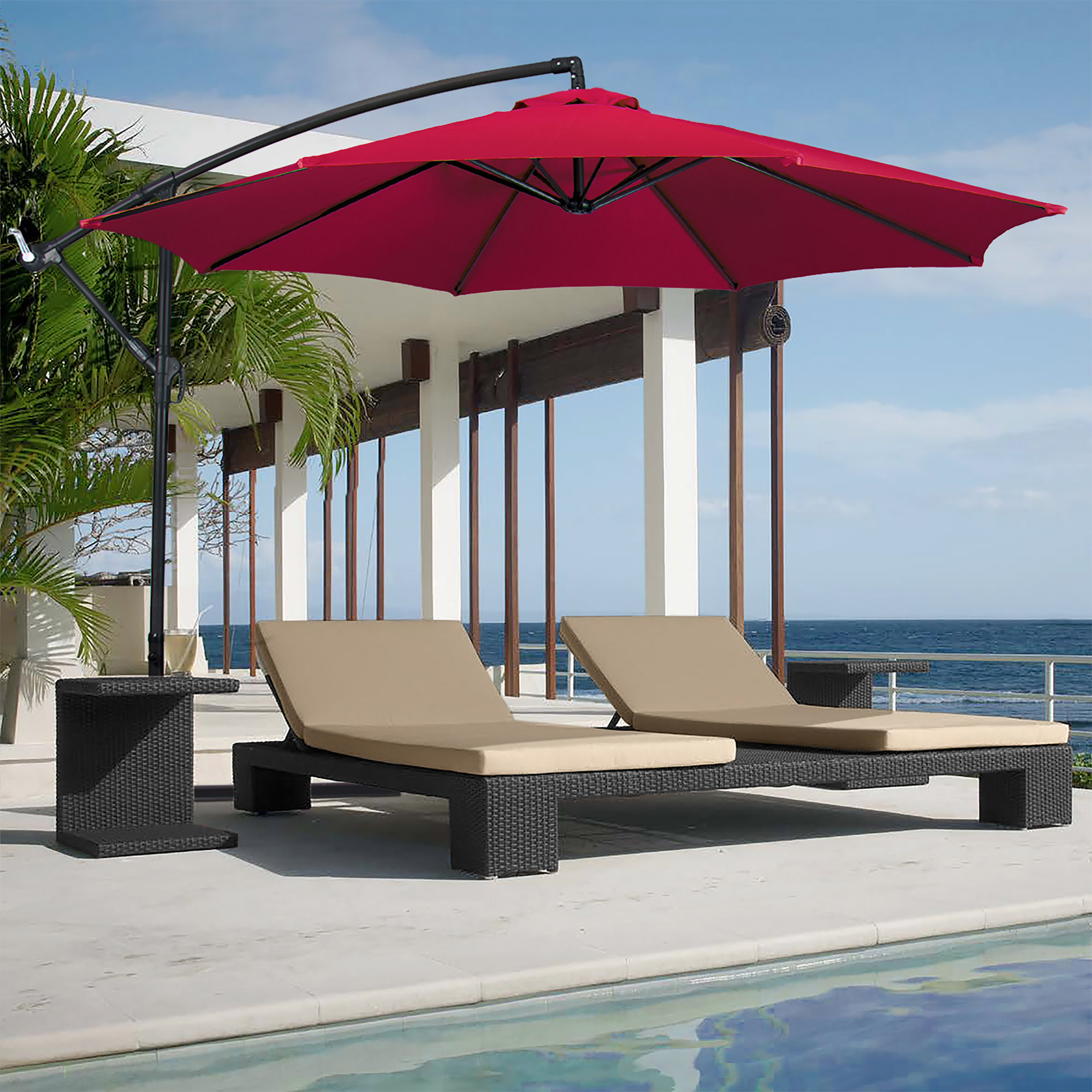 BCP-10ft-Offset-Hanging-Market-Patio-Umbrella-w-Tilt-Adjustment-Hand-Crank thumbnail 38