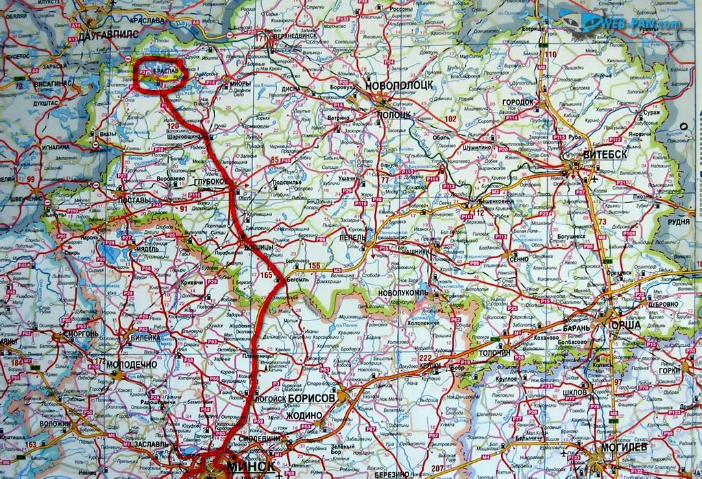 Карта с дорогйо домой (в Минск) из Браслава, с озёр!