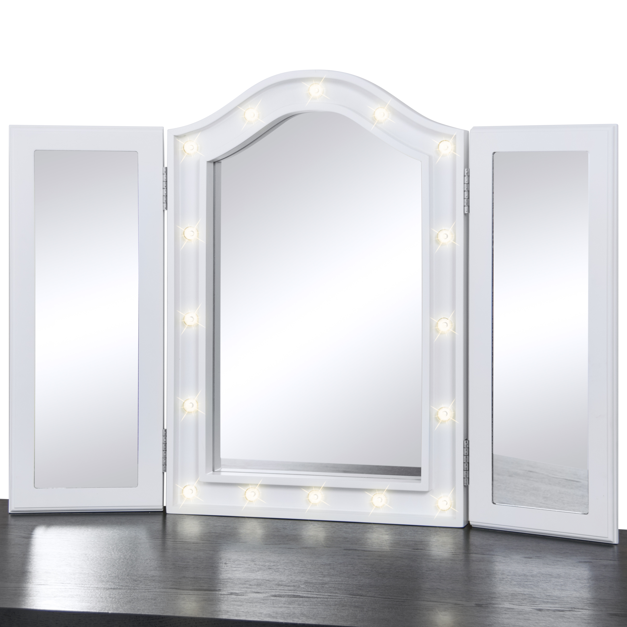 Bcp Lighted Tabletop Tri Fold Vanity Mirror W Led Lights
