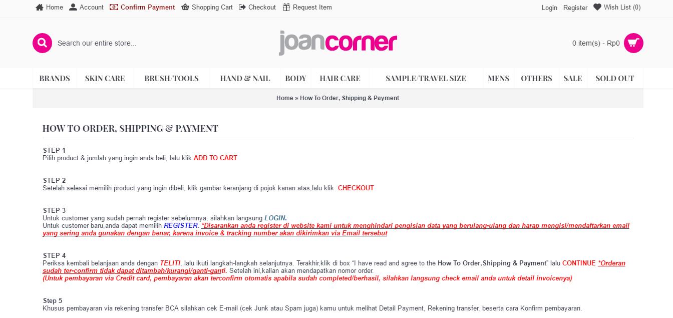 Shipping Info Joancorner