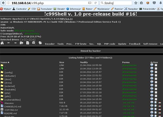 Panel kontrolny php shell o nazwie c99 umożliwiający zdalną pracę na serwerze. Jest to niejako wirus www.