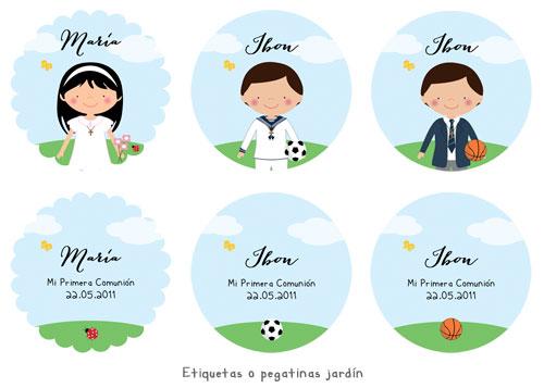 Etiquetas pegatinas de Primera Comunión personalizadas niña, niño, jardín, balón, flores