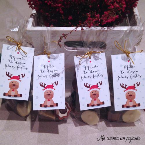 felicitación de Navidad con reno para el colegio, os deseamos felices fiestas, detalle bombones profesores