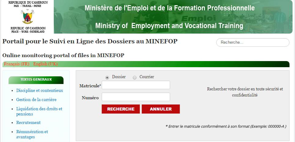 MINEFOP Suivi en Ligne des Dossiers: Cameroun Ministère de l Emploi et de la Formation Professionnelle
