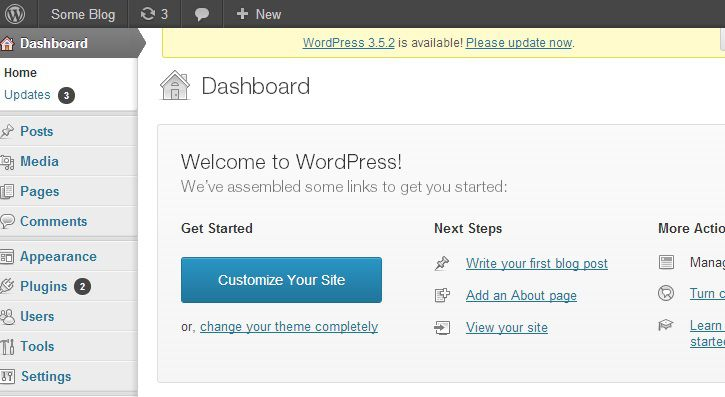 Giao dien WordPress Dashboard voi cac menu
