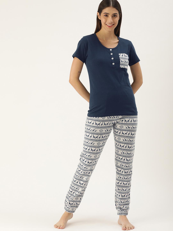 Slumber Jilll Aztec Animal Blue melange Pyjama set-FS-122XXL