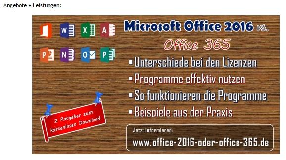 Ein Slider im oberen Bereich macht auf Produkte, z. B. auf Office 365 aufmerksam.