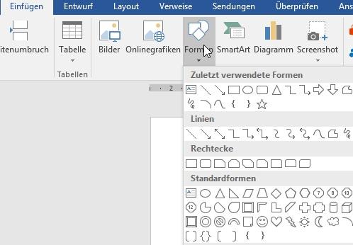 Mit dieser Word-Funktion lassen sich Formen erstellen.