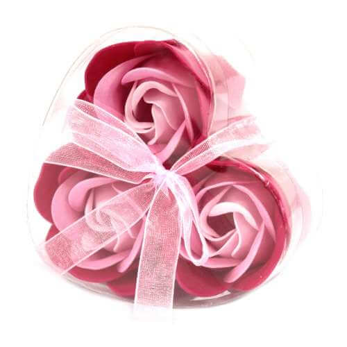 set of 3 soap flowers - pink roses