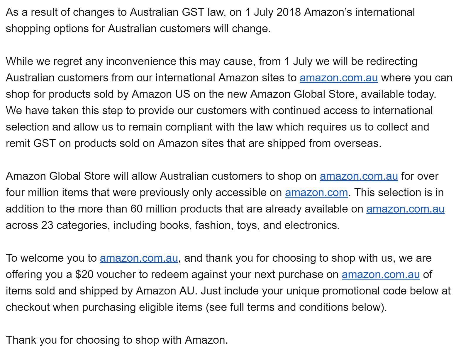 Switch from Amazon US to Australia