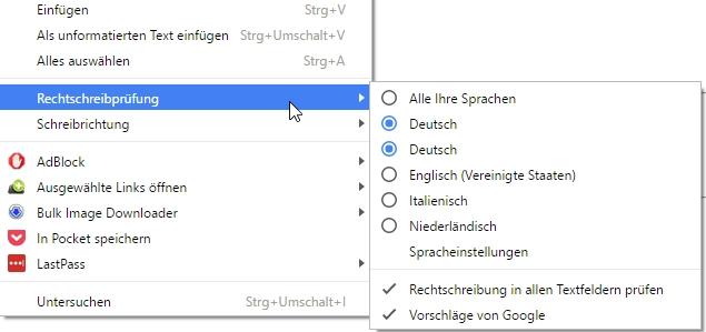 Im Browser Google Chrome gibt es für Wörter eine Rechtschreibprüfung