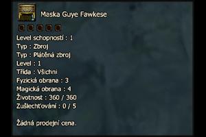 Maska Guye Fawkese (plusovací)