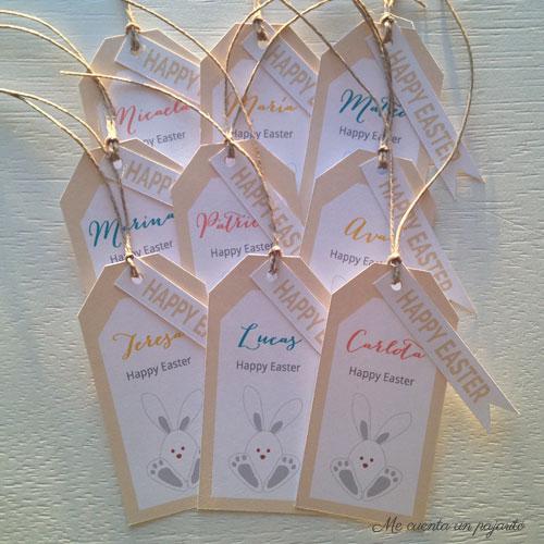 Banderitas Happy Easter y etiquetas personalizadas con conejo