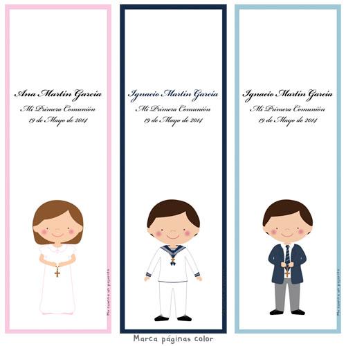 Marca páginas de Primera Comunión personalizado niña, niño, manos con cruz, copa o cirio, marca libro