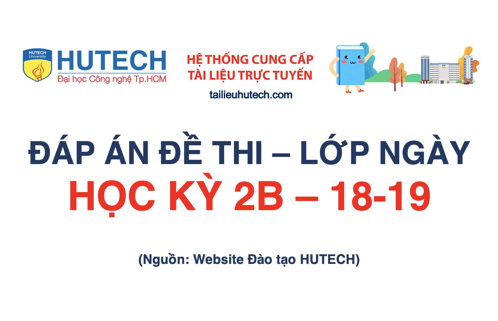 Đáp án HK 2B năm học 2018-2019_Lớp ngày