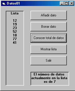 visual basic listas datos