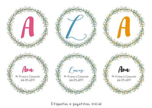 Etiquetas pegatinas de Primera Comunión personalizadas niña, niño, inicial, nombre, flores, corona ramas