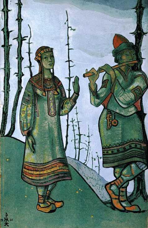 Н.Рерих. Снегурочка и Лель. Эскиз к постановке оперы. Чикаго, 1921 г