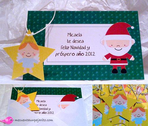 Tarjeta de felicitación de Navidad de papá Noel con estrella y angelito