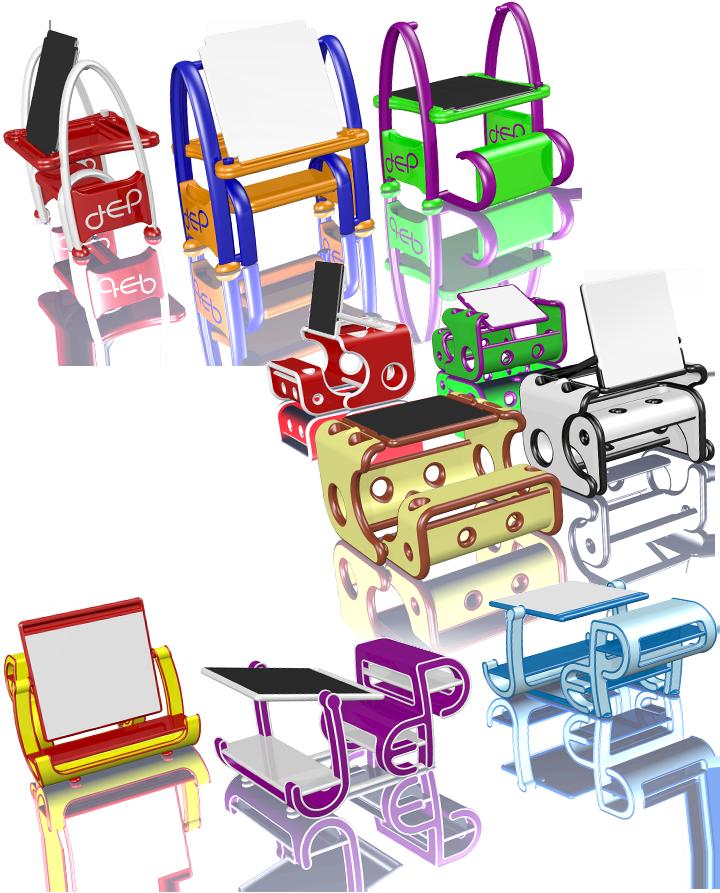 3 propositions de concepts pour un jouet premier âge combinant le pupitre et le tableau. Cliquez pour afficher en HD
