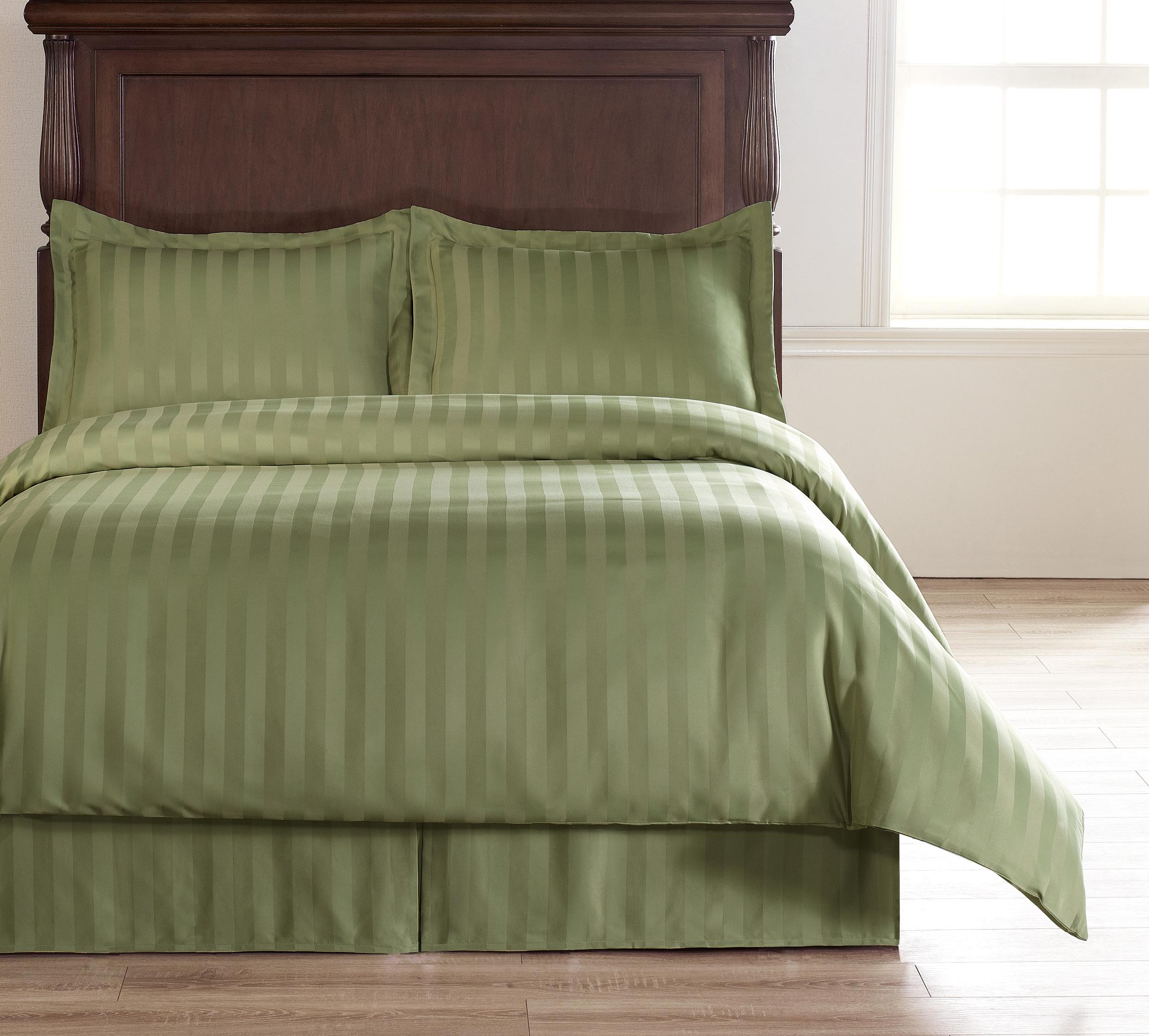 Damask Stripe Green 5pc Full Size Bed Polyester Duvet