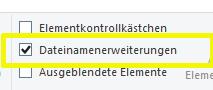 Dateiformat einblenden im Windows Explorer über die Symbolleiste