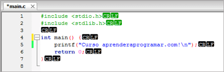 etiquetas fin linea codeblocks