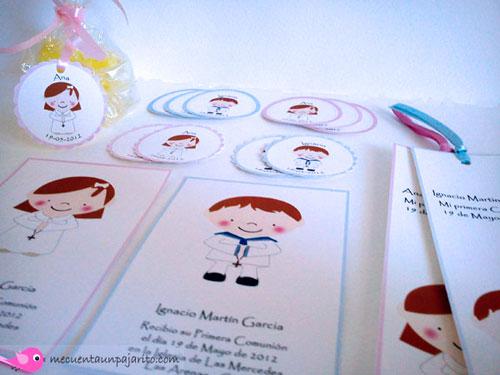 Recordatorio de primera comunión niña, niño, etiquetas y marca-páginas, punto de libro