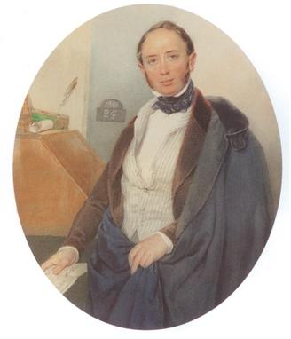 Sokolov Retrato A Shtiglitz, acuarela
