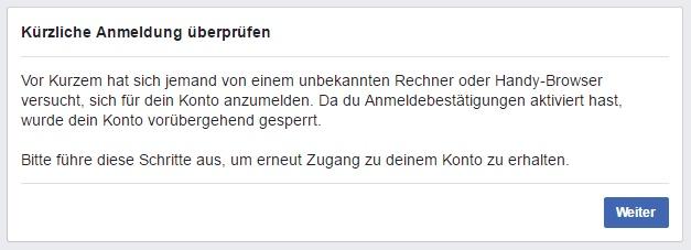 Hinweis-Meldung zum versuchten Zugriff innerhalb von Facebook.