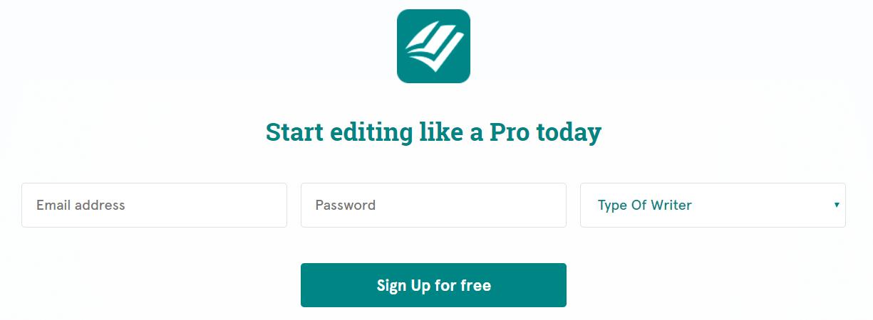 prowritingaid signup button screenshot
