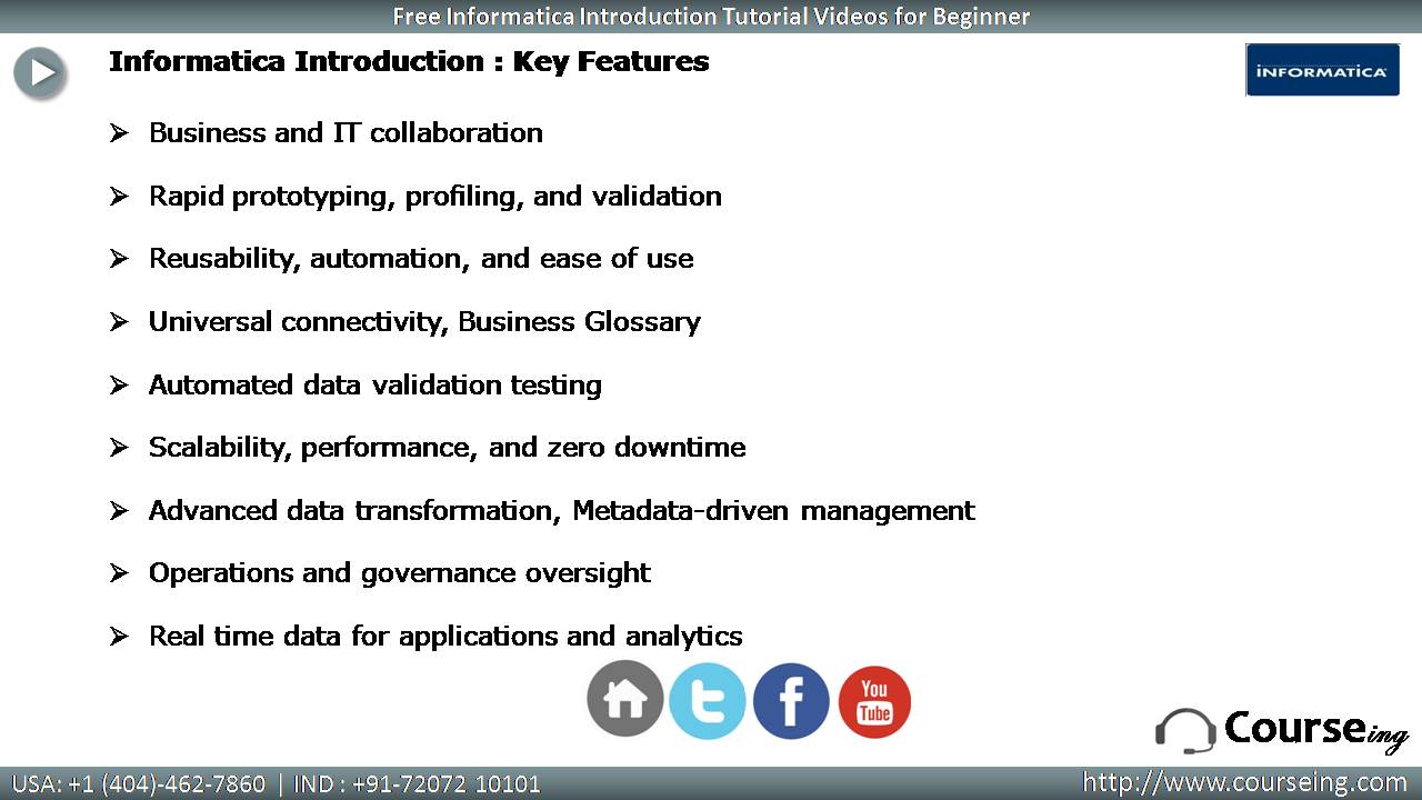 Informatica Key Features