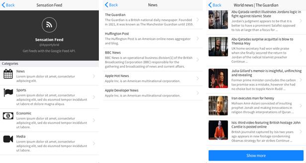 Sensation - PhoneGap / Cordova Full Hybrid App - 10