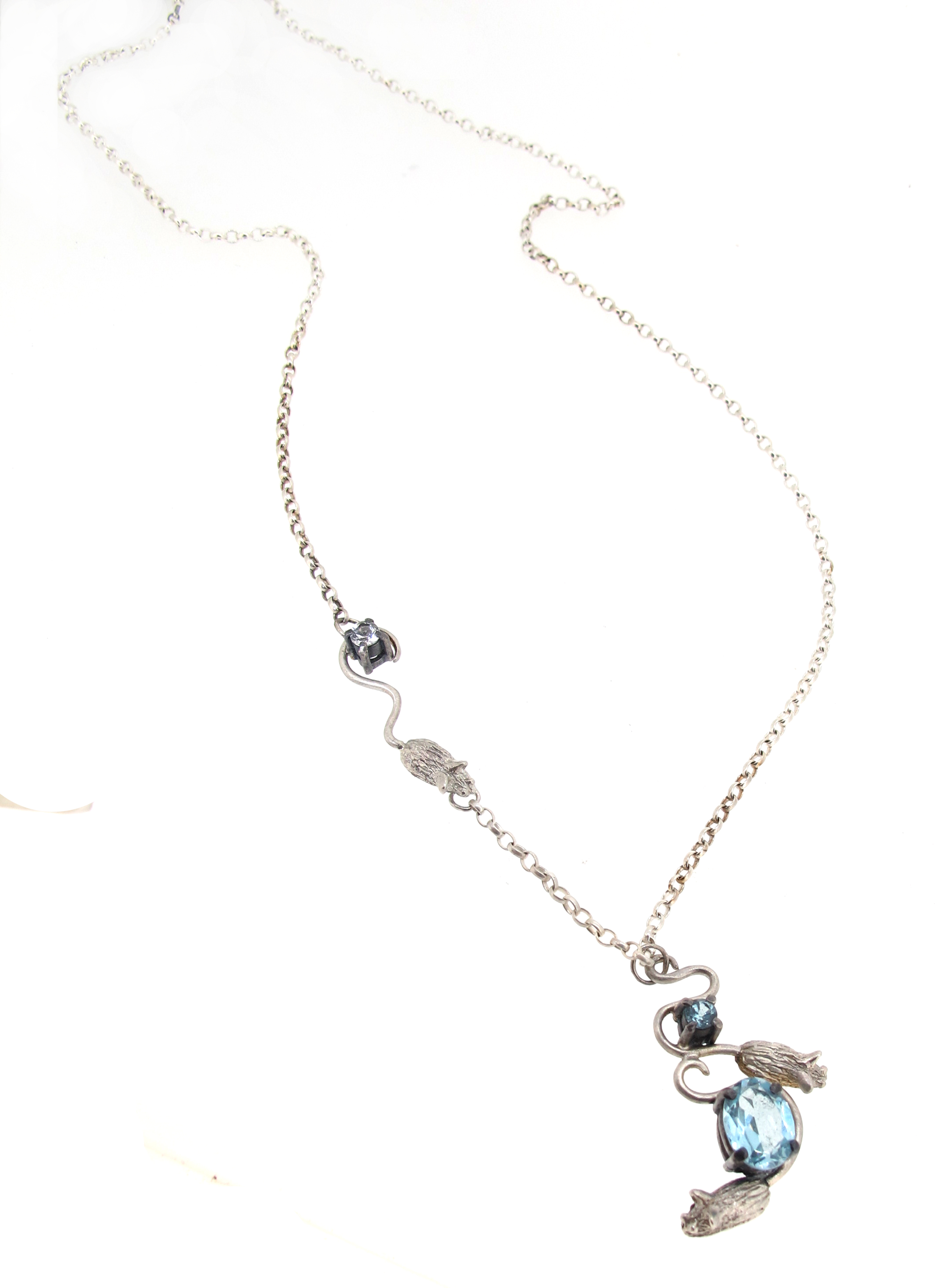 Topaz mouse necklace