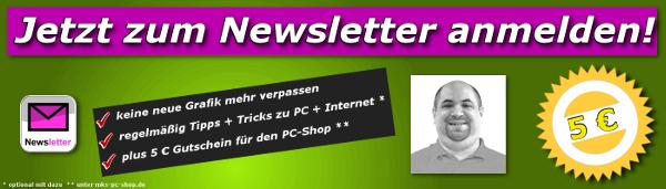 Mit dem Newsletter von MKS Computer & Internet Service bleiben Sie immer auf dem Laufenden über neue Grafiken + Fotos im Archiv.