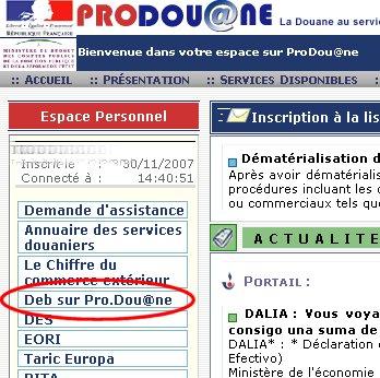 Prodouane RITA pro.douane.gouv.fr Rita Eori nomenclature douaniere