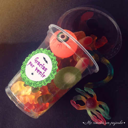 Smoothie con chuches y etiqueta party halloween, fantasma, calabaza, fiesta infantil