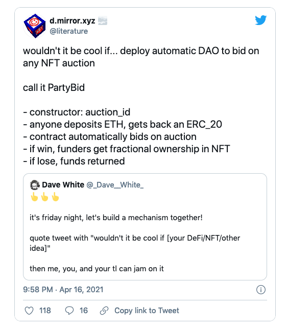 """A screenshot of Denis's tweet: """"wouldn't it be cool if you could deploy an automatic DAO to bid on an NFT auction?"""""""