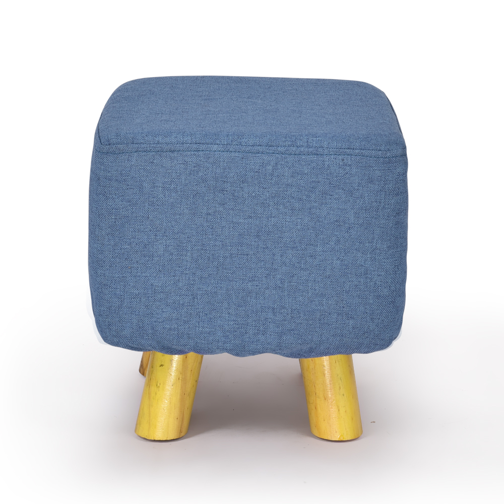 Luxury Chic Wooden Footstool Ottoman Blue