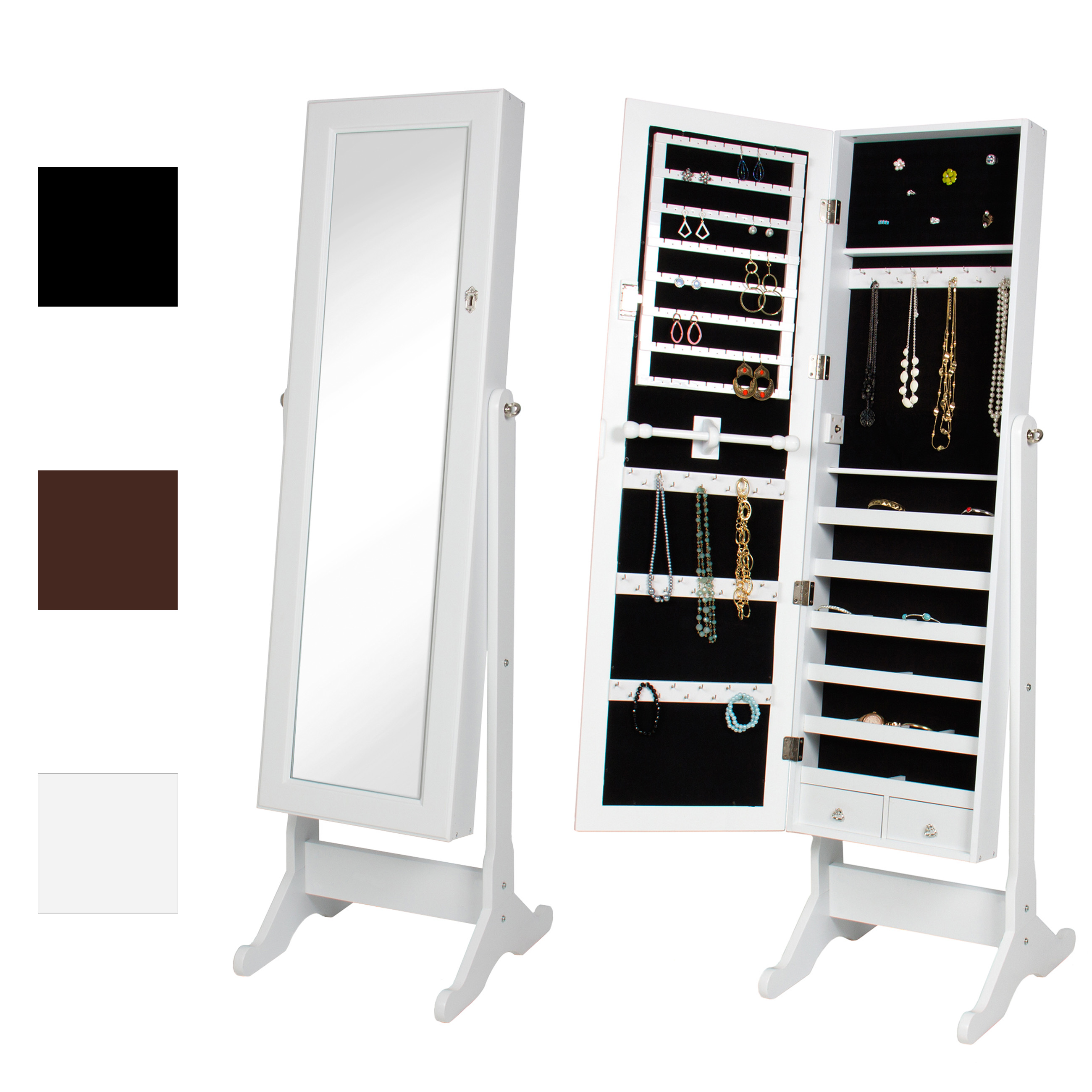 Bcp Full Length Tilting Mirrored Jewelry Cabinet Armoire W