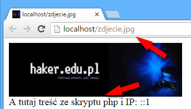 JPG, GIF, PNG wykonywany jako skrypt PHP z pomocą .htaccess.