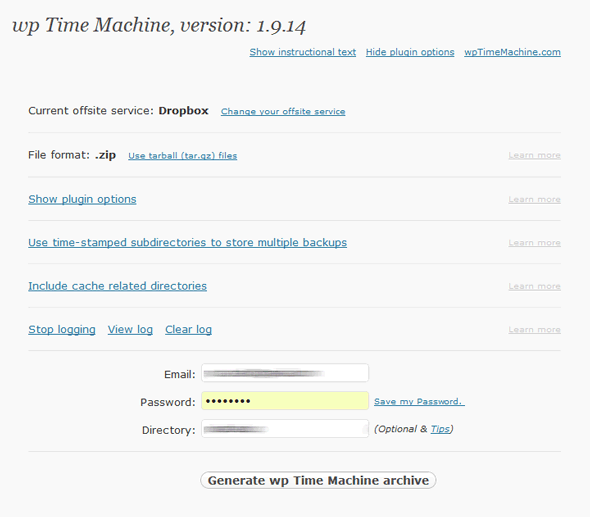 wp time machine plugin