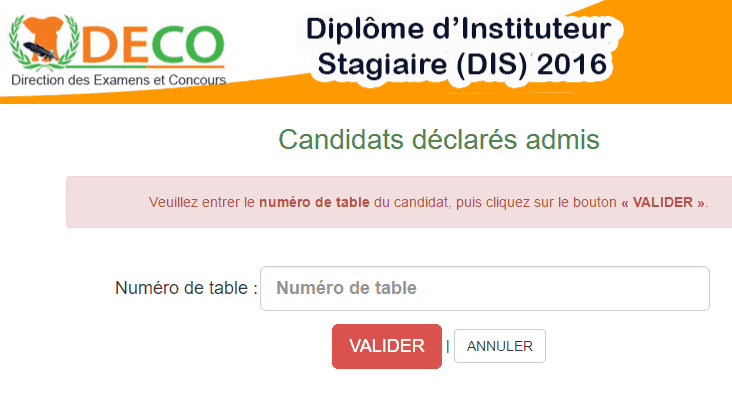 Résultats definitifs DIS 2016 Côte d'Ivoire Diplome d'instituteur stagiaire