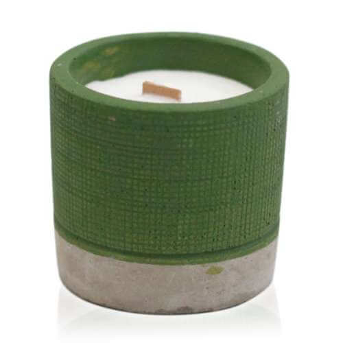 soy wax pot concrete candle - sea moss & herbs