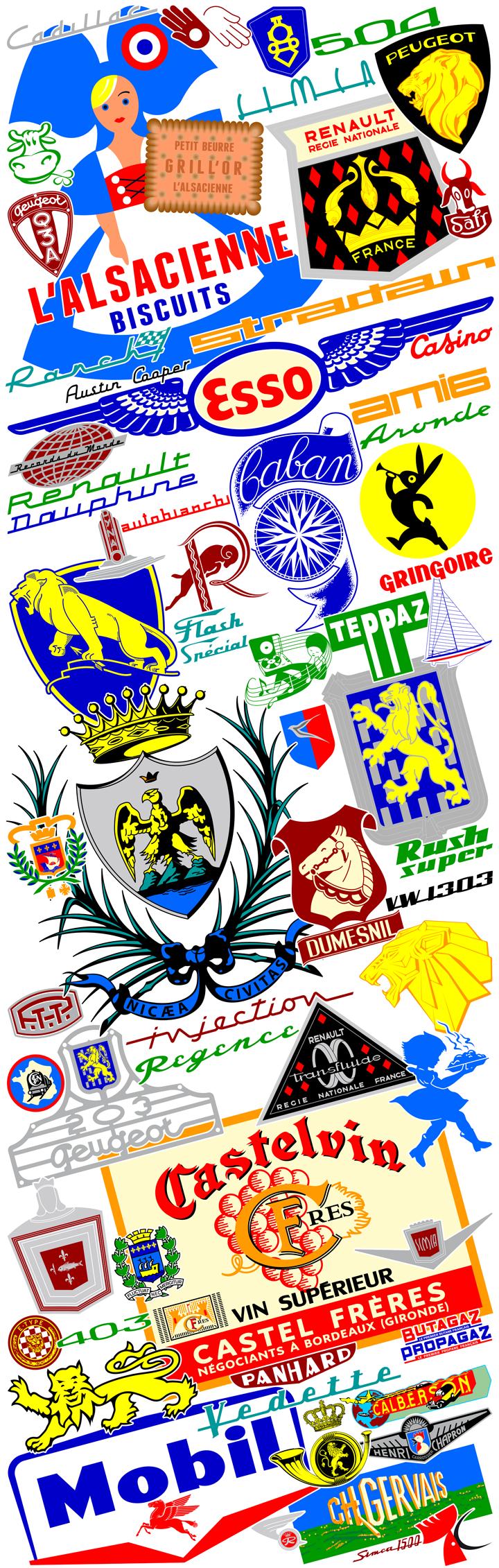 Une sélection de logos ou de visuels anciens redessinés. Cliquez pour afficher en HD