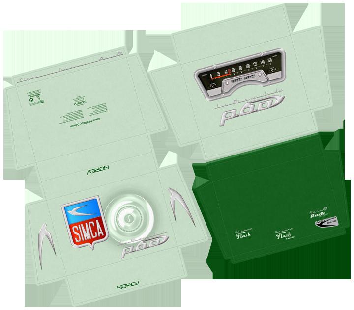 Développé du coffret 50 ans de la Simca Aronde P60. Cliquez pour afficher en HD